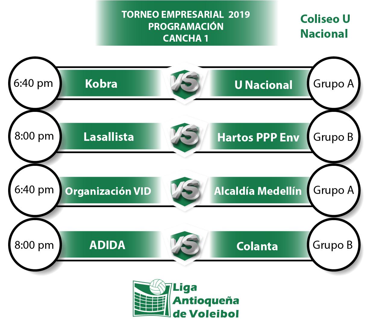 programación séptima fecha Torneo Empresarial de Voleibol